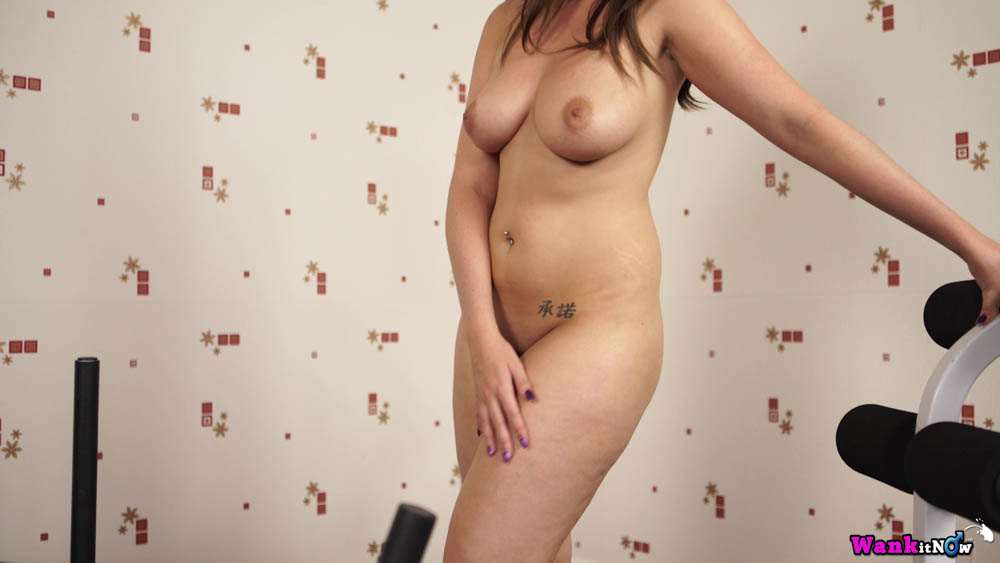 Charlie Rose Jerk Off - Fully naked with belly button piercing and Chinese tattoo