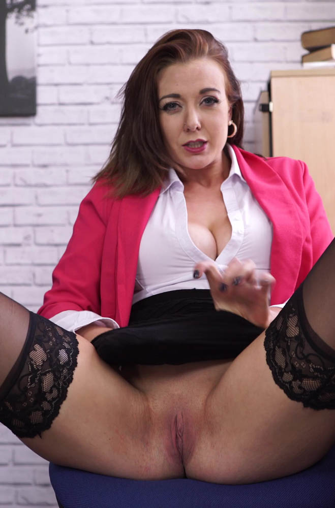 Sapphire Office Stress Relief - Shaved Pussy and Cleavage