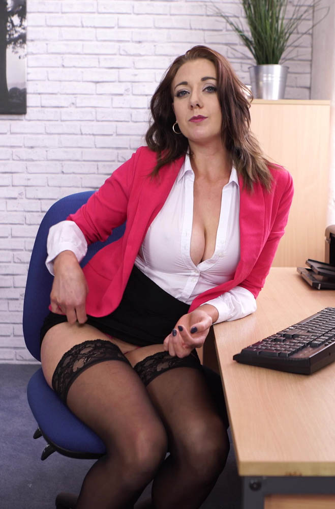 Sapphire Office Stress Relief - Cleavage and stockings