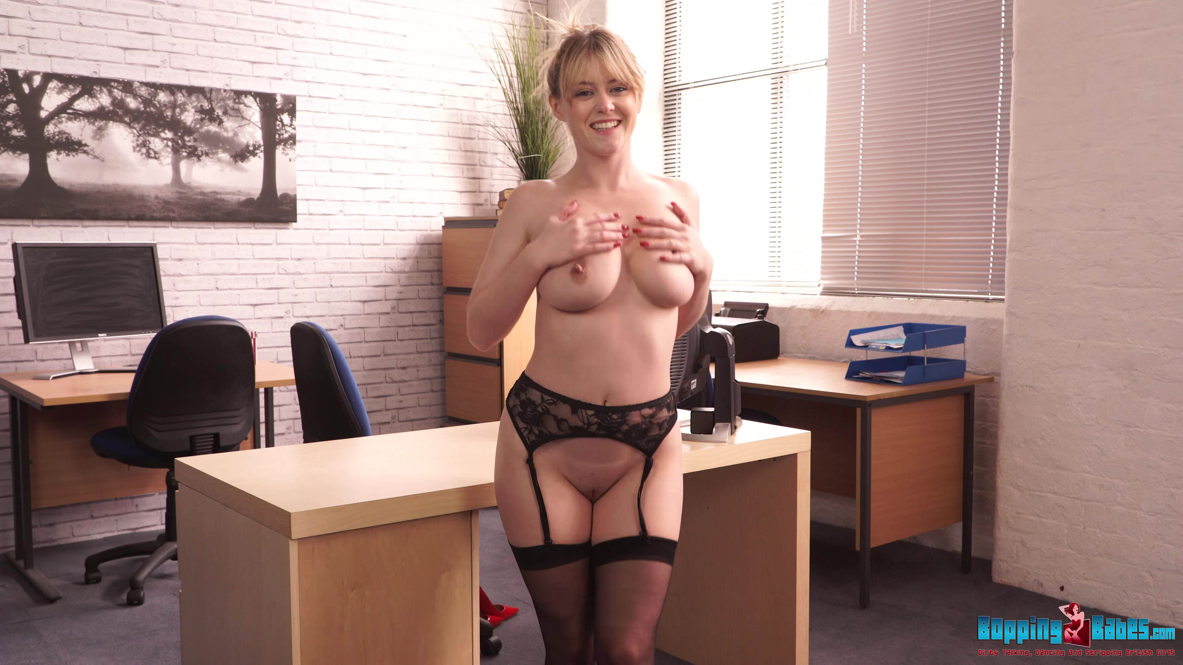 Sexy Office Girl Brook strokes her massive tits